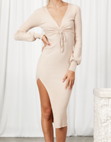 Lana Midi Dress - Beige V Neck Long Sleeve Ribbed Midi Dress - Women's Dress - Charcoal Clothing