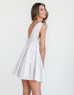 Streets of Greece Mini Dress - Beige and White Gingham Mini Dress - Women's Dress - Charcoal Clothing