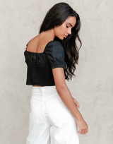 Jackie Top (Black) - Black Crop Top - Women's Top - Charcoal Clothing