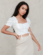 Norah Crop Top - White Short Sleeve Embroidered Crop Top - Women's Top - Charcoal Clothing