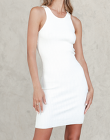 Modern Day Mini Dress (White) - White Fitted Ribbed Mini Dress - Women's Dress - Charcoal Clothing