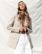 Zamia Blazer- Neutral Beige Blazer - Women's Blazer - Charcoal Clothing