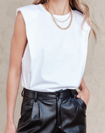 It Girl Top (White) - Basic White Tank Top - Women's Top - Charcoal Clothing