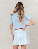Abby Mini Skirt (Blue) - Blue and White Floral High Waisted Mini Skirt - Women's Skirt - Charcoal Clothing