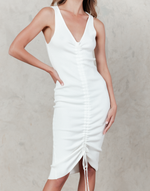 Anika Mini Dress - White Ribbed Bodycon Mini Dress - Women's Dress - Charcoal Clothing
