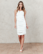 Melissa Midi Dress - White Knit Midi Dress - Women's Dress - Charcoal Clothing