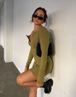 Gramercy Mini Dress - Khaki Green Fitted Long Sleeve Mini Dress - Women's Dress - Charcoal Clothing