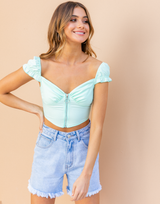 Soul Driver Crop Top (Turquoise) - Green Crop Top - Women's Top - Charcoal Clothing