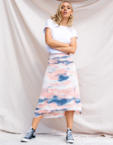 Jemima Midi Skirt - Pink and Blue Marble Print High Waisted Skirt - Women's Skirt - Charcoal Clothing