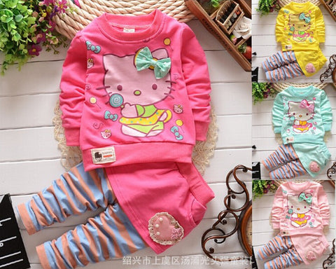 Hello Kitty Baby Girl Children spring clothing sets 2 pcs