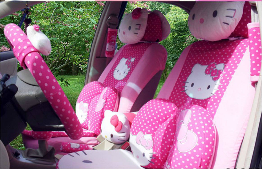 29pcs set Hello Kitty Car Seat Covers with Pink Dot or bowknot for Universal cars,including all accessories,