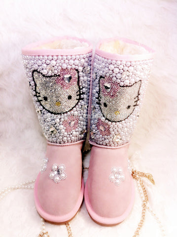 Hello Kitty Leather Boots Rhinestone Pink Pearl Snow Boots