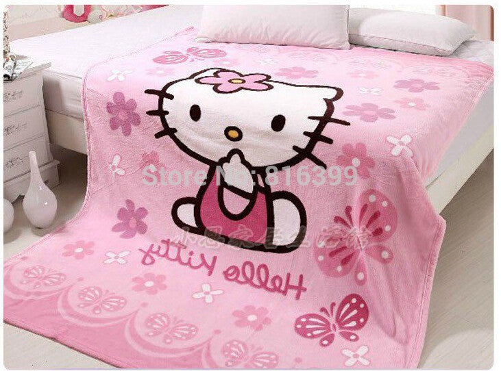 Coral fleece blanket on the bed for children hello kitty - 150*200CM
