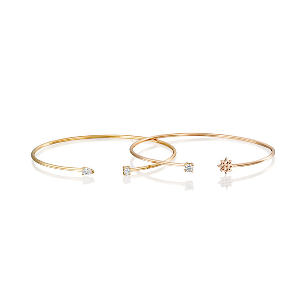 Mini Wire LOGO Cuffs, Gold & Diamond Bracelet - DANA ARISH