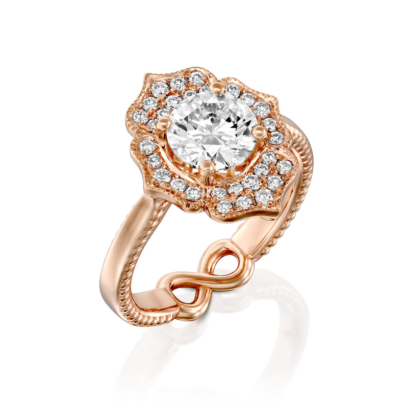 Charlotte Ring: Oval Diamond, Rose Gold Engagement Ring - Dana Arish