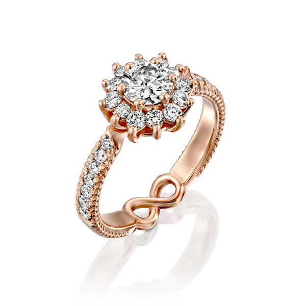 White Swan Rose Gold & Diamond Engegmant Ring - DANA ARISH