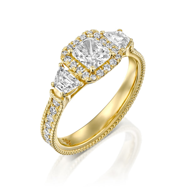 Fantasy Hola Ring - Heart shape Diamond & Yellow Gold Engagement Ring