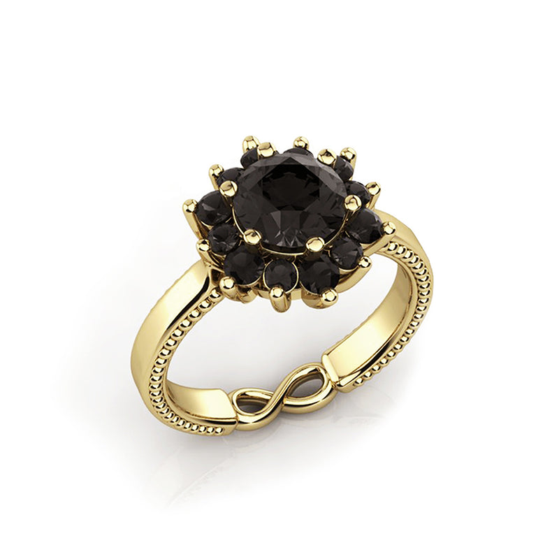 Black Swan Engagement Ring, 13 Black Diamonds Ring by DANA ARISH