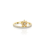 ARISH Mini Logo Ring, 14k Yellow Gold & Round Brilliant Diamond Ring by DANA ARISH Jewelry