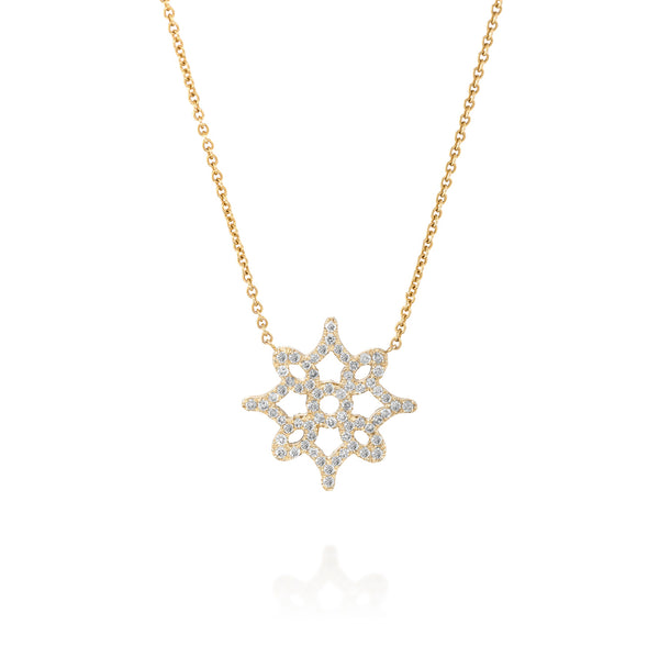 LOGO Pendant - Yellow Gold & Diamond Necklace by DANA ARISH