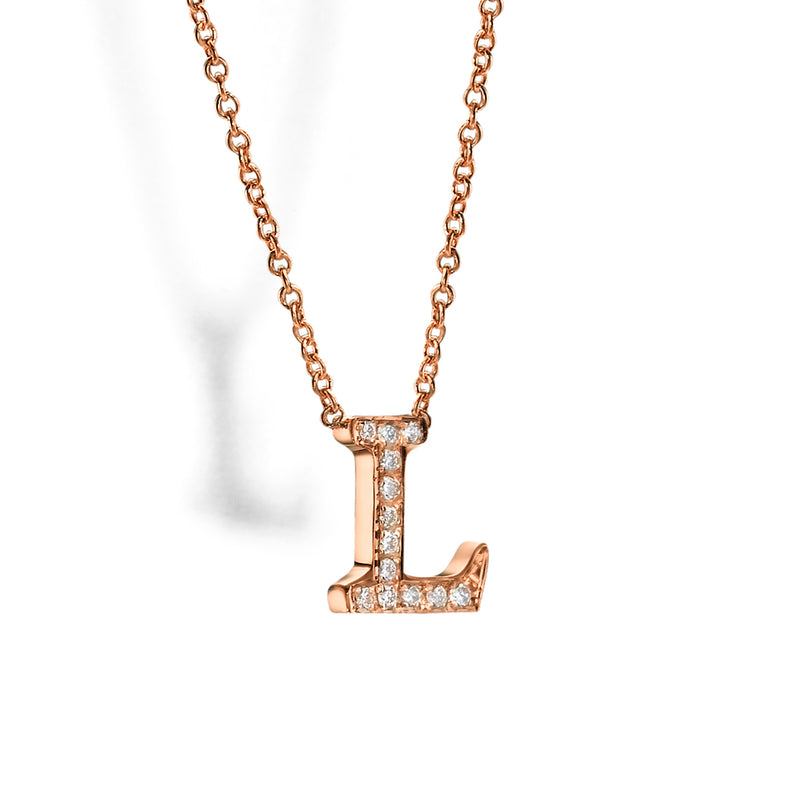 Alphabet Charm, Fine Necklace, Gold & Diamond, Dainty Chain by DANA ARISH