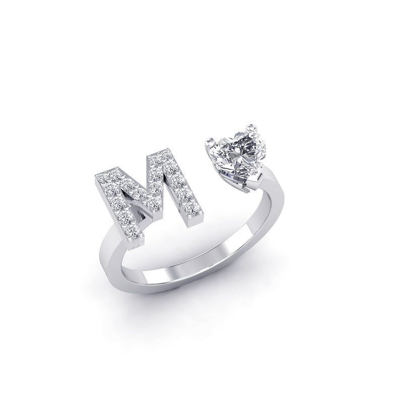 White Gold & Diamonds Ring, A uniqu Diamonds letter Ring, by DANA ARISH