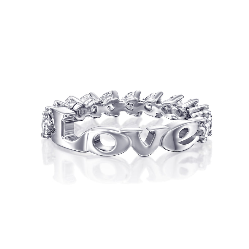 White Gold Diamond Ring, MINI ETERNITY HEARTS feat LOVE