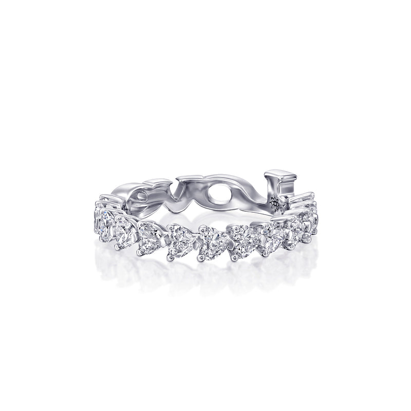 White Gold Ring, 1/2 circle of heart shape Diamonds,  LOVE at the bottom Ring - DANA ARISH