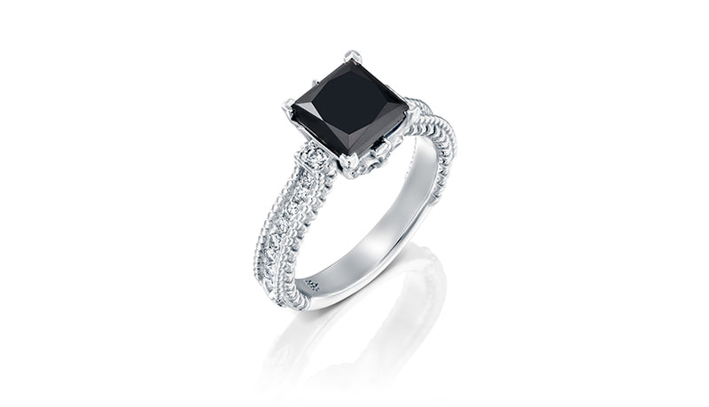 1.50 carat natural Black Diamond Center Stone Ring on 14k White Gold Ring by DANA ARISH