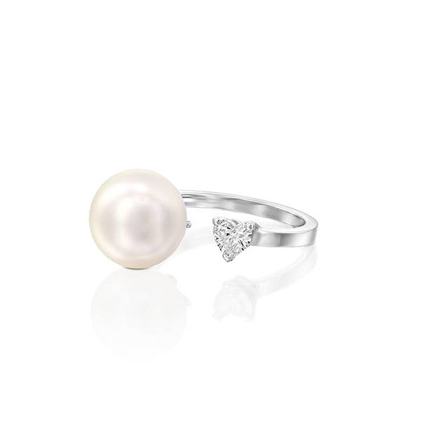 Pearl & Heart Ring by DANA ARISH: 14k White Gold ,Heart Shape Diamond Ring total weight 0.30, 11-13 mm White pearl.
