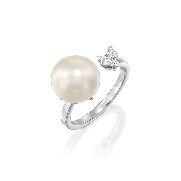 Pearl & Heart Ring - 14k White Gold ,Heart Shape Diamond Ring by DANA ARISH