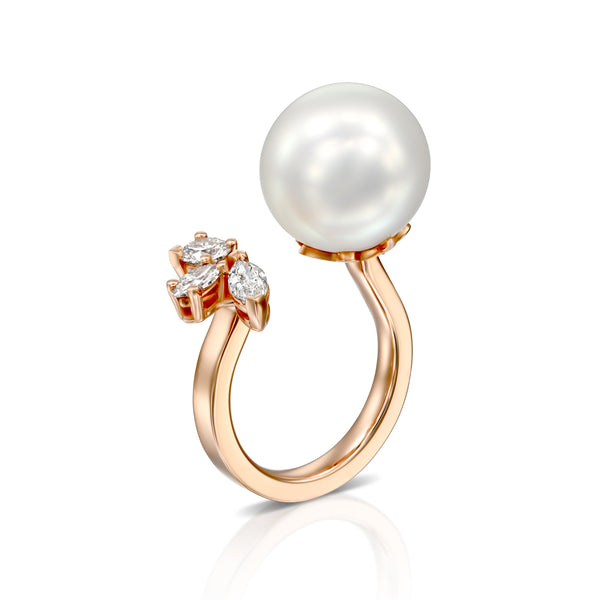 Pure Ocean Ring - 14k Rose Gold Ring, 13 mm South Sea Pearl & Marquise shape Diamonds total carat 0.95, Ring by DANA ARISH
