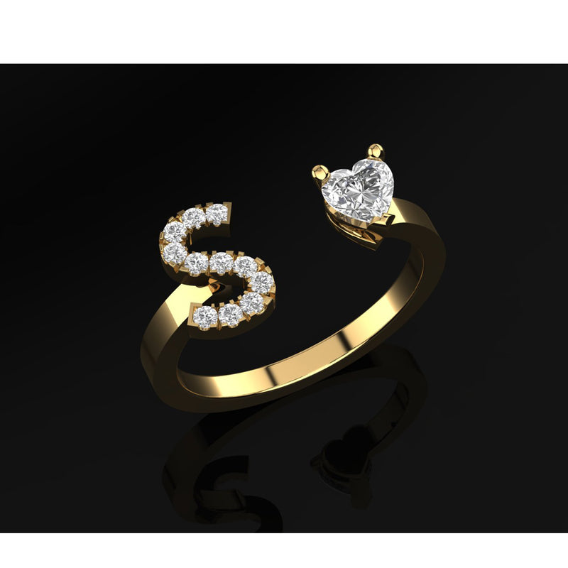 Letter Ring, Yellow Gold & Diamond Ring by DANA ARISH