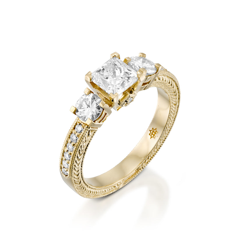 Trio - A Princess Cut Center Diamond & Yellow Gold Ring by DANA ARISH.