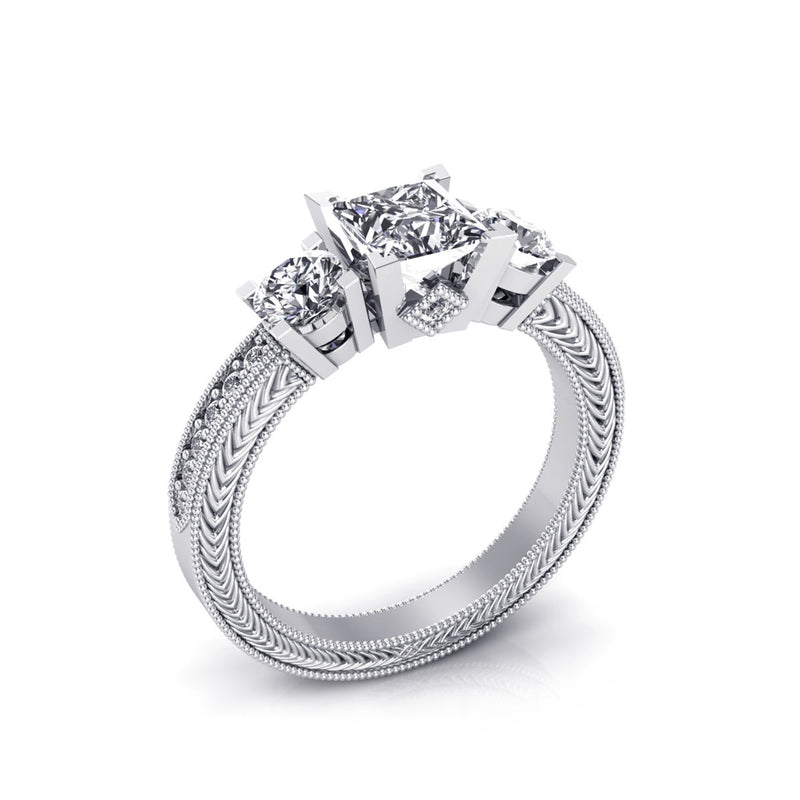A Princess Cut Center Diamond Engegmant Ring, Accompanied with A Round Brilliant Cut Diamonds & White Gold Ring by DANA ARISH.