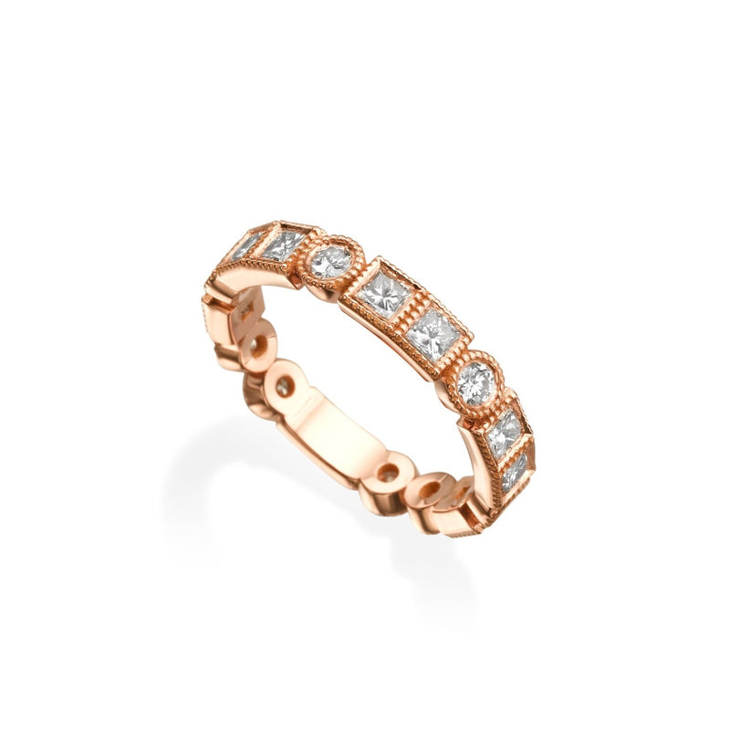 Art Deco Ring, Rose Gold & Diamonds Ring by DANA ARISH. 14k Rose Gold Ring with round and princess cut Diamonds