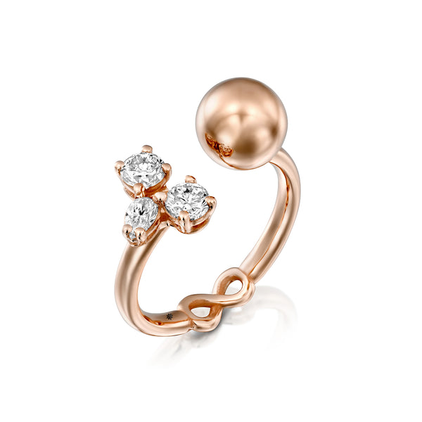 Bali Ring - Rose Gold & Diamons Ball Ring by DANA ARISH
