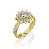 LUX White Swan - Diamond & Yellow Gold Engegmant Ring by DANA ARISH