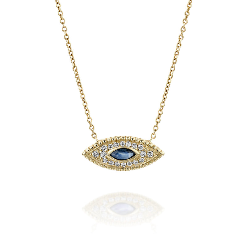 The Marquise Eye - Yellow Gold, Sapphire & Diamonds Necklace