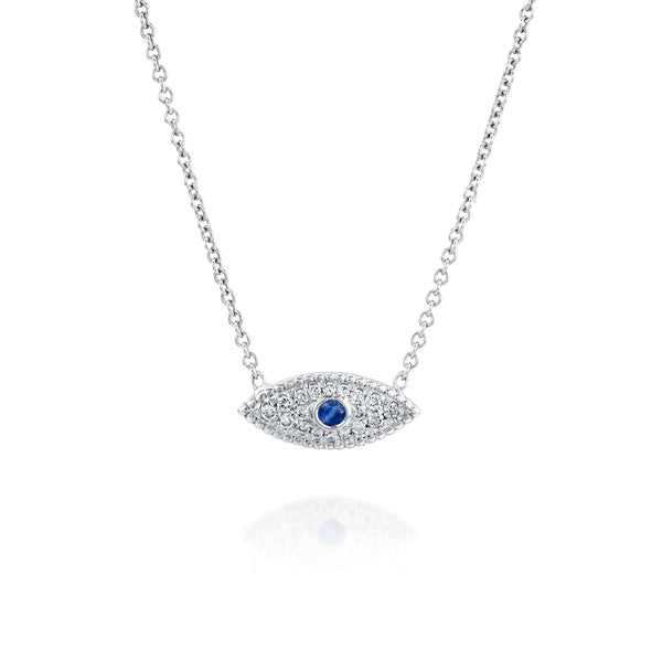 Eye See You Necklace - White Gold, Sapphire & Diamonds | DANA ARISH