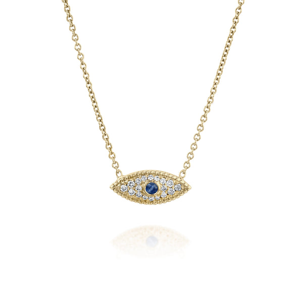Eye See You Necklace - Yellow Gold, Sapphire & Diamonds | DANA ARISH
