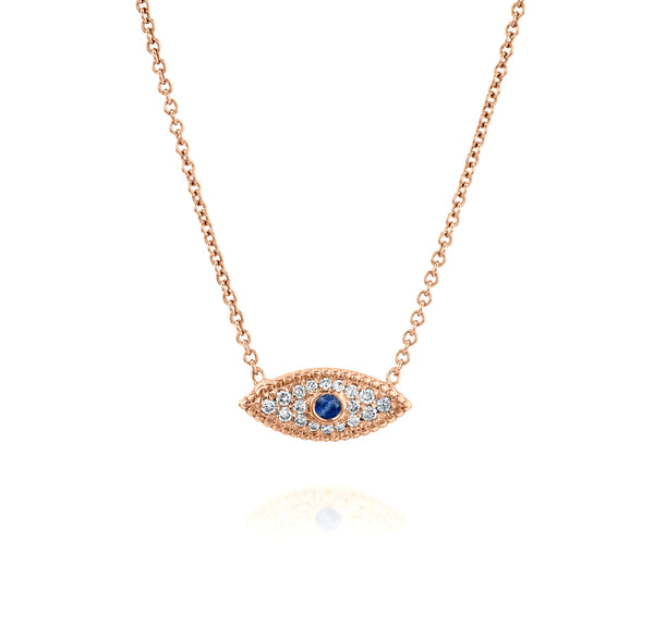 Eye See You Necklace - Rose Gold, Sapphire & Diamonds | DANA ARISH