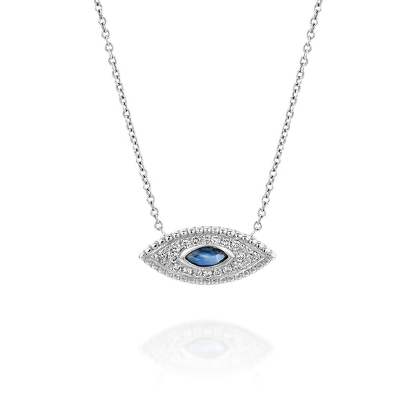 White Gold, Sapphire & Diamonds Necklace - The Marquise Eye by DANA ARISH