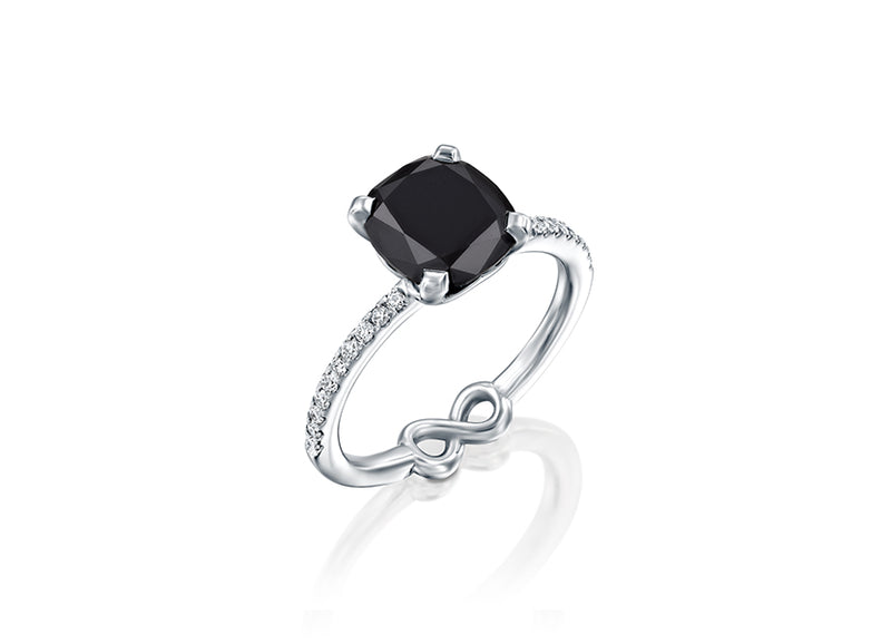 Black Lily Engagement Ring; 2.64 Carat black diamond, 0.30 Carats sparkling white diamonds by DANA ARISH