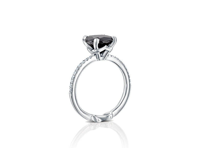 Black Lily Engagement Ring, center 2.64 Carat black diamond, sparkling white diamonds