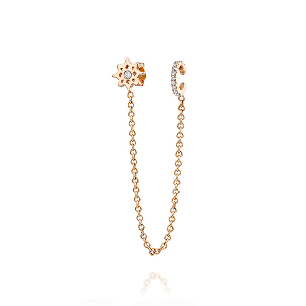 ARISH LOGO Ear Chain, Rose Gold & Diamonds Earrings, DANA ARISH