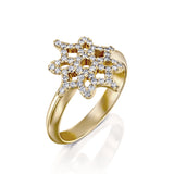 ARISH Logo Ring in Yellow Gold and Round Brlliant Diamond Ring, DANA ARISH Jewelry