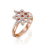 ARISH Logo Ring in Rose Gold and Round Brlliant Diamond Ring, DANA ARISH Jewelry