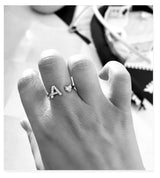 Letter Ring, White Gold & Diamond Ring by DANA ARISH