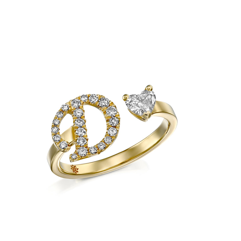 Yellow Gold & Diamonds Ring, A uniqu Diamonds letter Ring, by DANA ARISH
